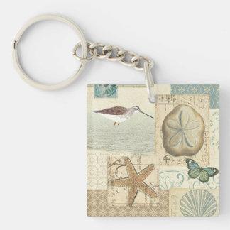 Coastal Collage Double-Sided Square Acrylic Keychain