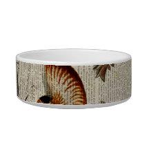 coastal conch vintage seashell botanical print bowl