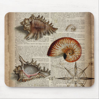 coastal conch vintage seashell botanical print mouse pad