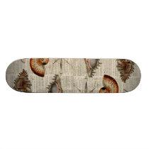 coastal conch vintage seashell botanical print skateboard deck