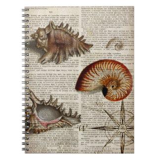 coastal conch vintage seashell botanical print spiral notebook