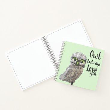 Beach Themed Coastal Cottage Art Burrowing Owl Painting Notebook