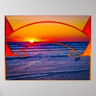 Coastal Daytona Beach Shores Architecture & Landsc Poster