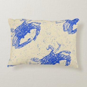 Beach Themed Coastal Decor, Blue Crab Pillow, Lumbar Accent Pillow