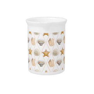 Coastal Decor Seashell Pattern Beverage Pitcher