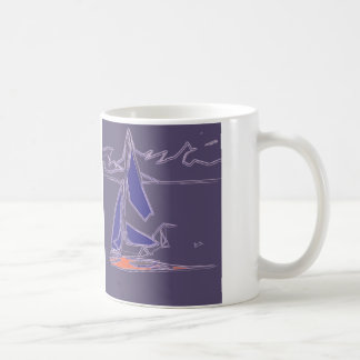 Coastal Dinghy Sailing - abstract boat design Classic White Coffee Mug