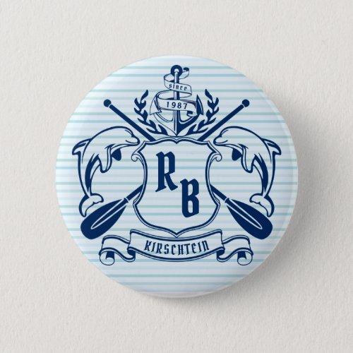 Coastal Emblem Dolphins Anchor Oar Shield Nautical Button