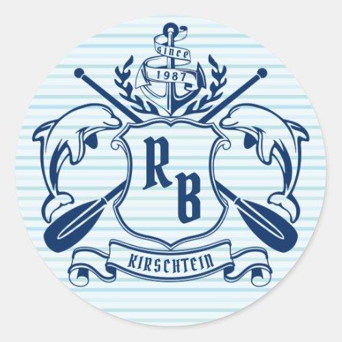 Coastal Emblem Dolphins Anchor Oar Shield Nautical Classic Round Sticker