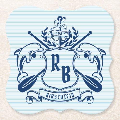 Coastal Emblem Dolphins Anchor Oar Shield Nautical Paper Coaster
