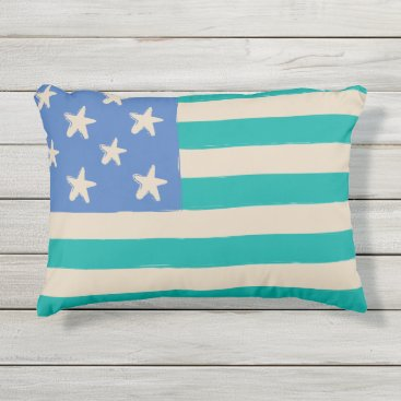 Beach Themed Coastal flag with starfish in blue and teal outdoor pillow
