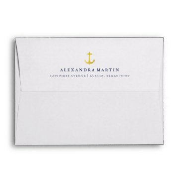 Beach Themed Coastal Glamour | Gold Anchor and Navy Blue Inside Envelope