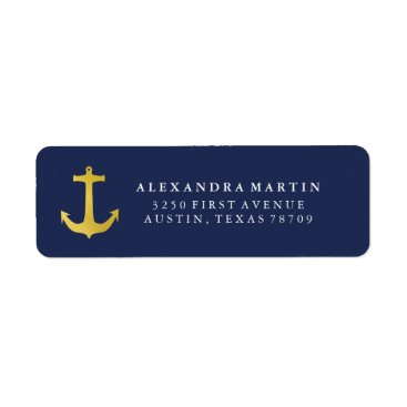 Beach Themed Coastal Glamour | Gold Anchor on Navy Blue Label