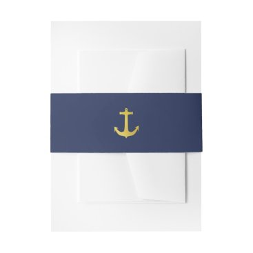Beach Themed Coastal Glamour | Gold Anchor on Navy Blue Wedding Invitation Belly Band