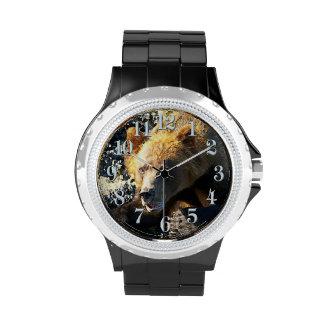 Coastal Grizzly Bear Face - Wildlife Photo Wristwatches