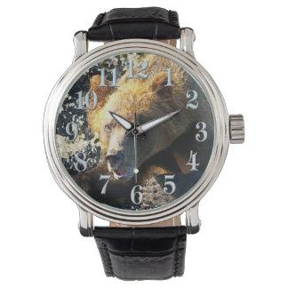 Coastal Grizzly Bear Face - Wildlife Photo Wrist Watch