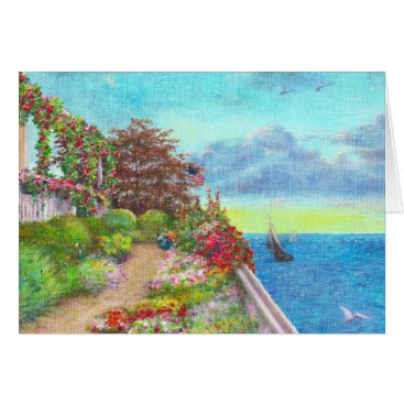 Beach Themed Coastal Illustrated Garden Seascape Card