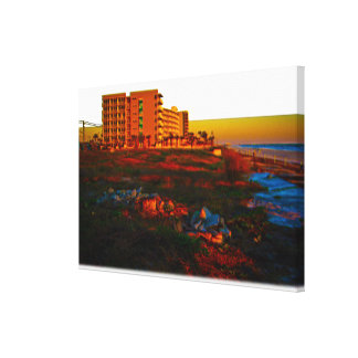 Coastal Landscape and Beach Resort Art Canvas Print