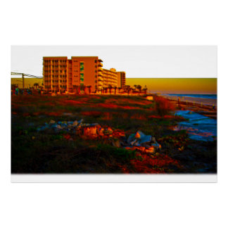 Coastal Landscape and Beach Resort Art Poster