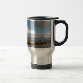 Coastal landscape and lighthouse travel mug