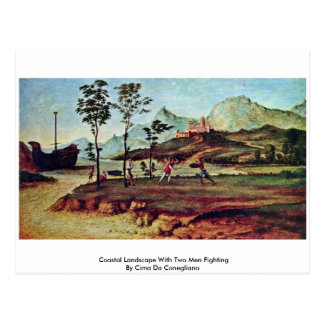 Coastal Landscape With Two Men Fighting Postcards