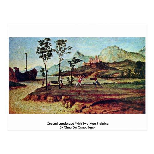Coastal Landscape With Two Men Fighting Postcard