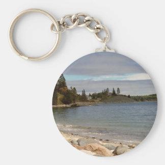 Coastal Maine Basic Round Button Keychain