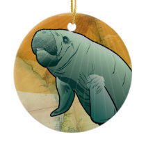 Coastal Manatee of Florida Ceramic Ornament