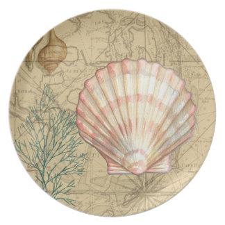 Coastal Map Collage Melamine Plate