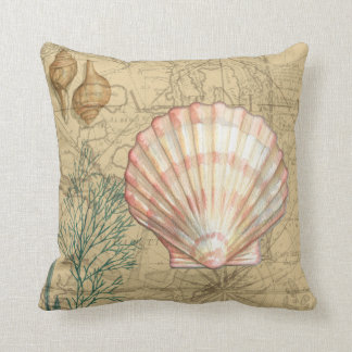 Coastal Map Collage Pillow