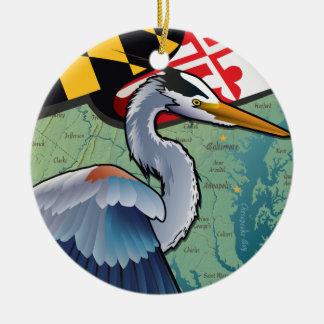 Coastal Maryland Blue Heron Ceramic Ornament