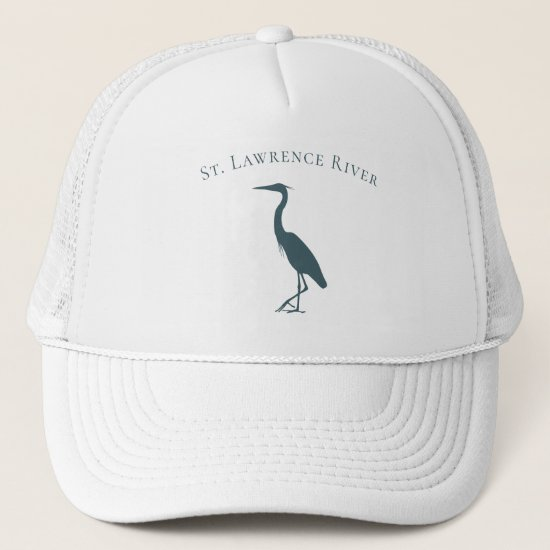 Coastal migratory bird Great Blue Heron silhouette Trucker Hat