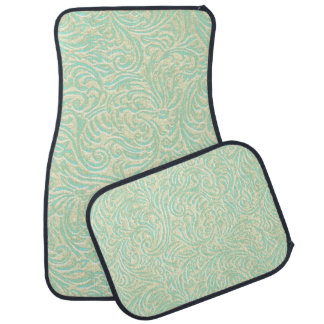 Coastal Mint Green Vintage French Scrollwork Car Floor Mat