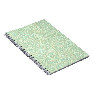 Coastal Mint Green Vintage French Scrollwork Spiral Notebook