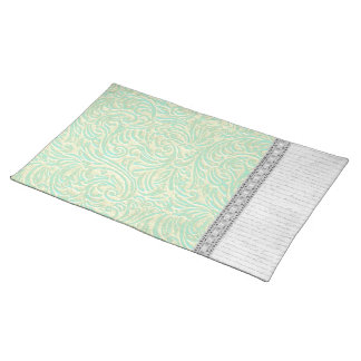 Coastal Mint Green White Vintage French Scrollwork Placemat