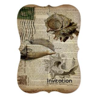 coastal modern vintage french botanical seashell card