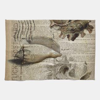 coastal modern vintage french botanical seashell hand towel