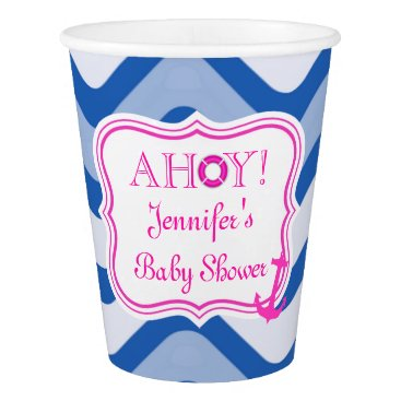 Beach Themed Coastal nautical beach sea girly pink paper cup