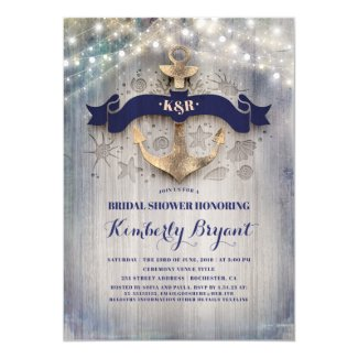Coastal Nautical Golden Anchor Bridal Shower Invitation