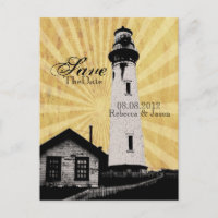 Coastal Nautical Lighthouse Wedding save the date Announcement Postcard