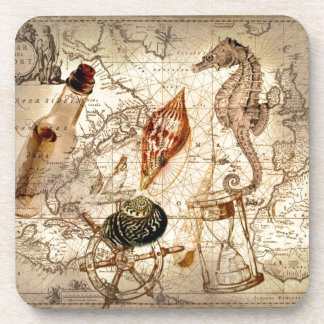 Coastal Nautical Map botanical seahorse seashell Beverage Coaster