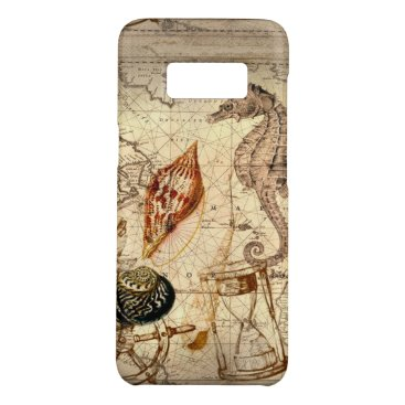 Beach Themed Coastal Nautical Map botanical seahorse seashell Case-Mate Samsung Galaxy S8 Case