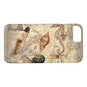 Beach Themed Coastal Nautical Map botanical seahorse seashell iPhone 7 Case