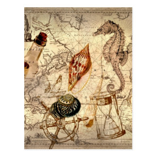 Coastal Nautical Map botanical seahorse seashell Postcard