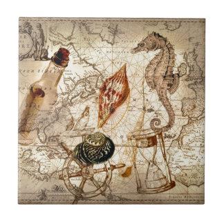 Coastal Nautical Map botanical seahorse seashell Tile