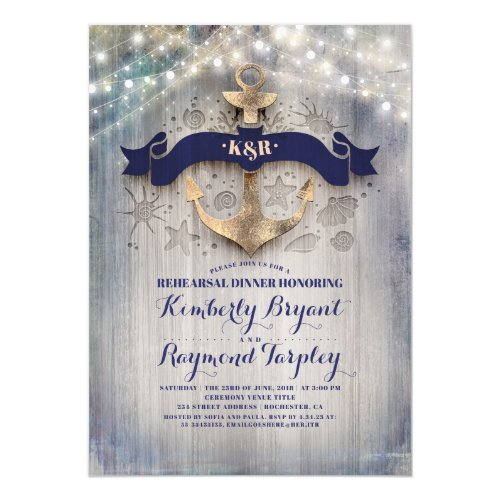 Coastal Nautical Rustic Anchor Rehearsal Dinner Invitation