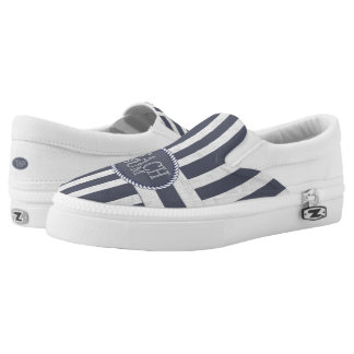 Coastal Nautical Stripes with Beach Bum Theme Slip-On Sneakers