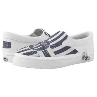 Coastal Nautical Stripes with Seize the Day Slip-On Sneakers