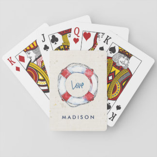 Coastal Quote | Love is the best lifesaver Playing Cards