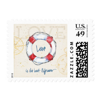 Coastal Quote | Love is the best lifesaver Postage