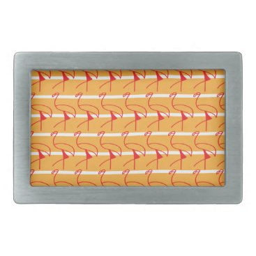 Beach Themed Coastal Red Flamingos on the Beach Rectangular Belt Buckle